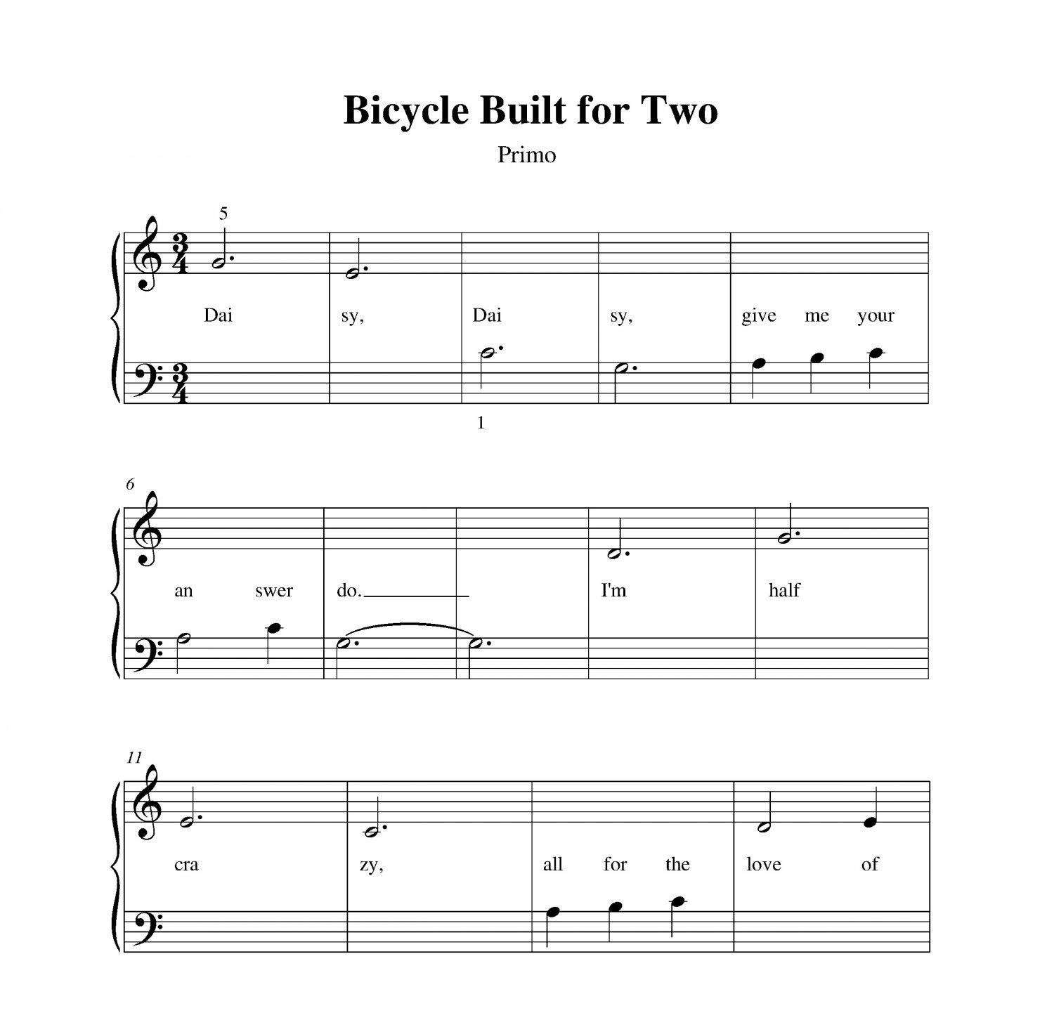 Turning Page Sleeping At Last Piano Sheet Music With Lyrics: Bicycle Built For Two