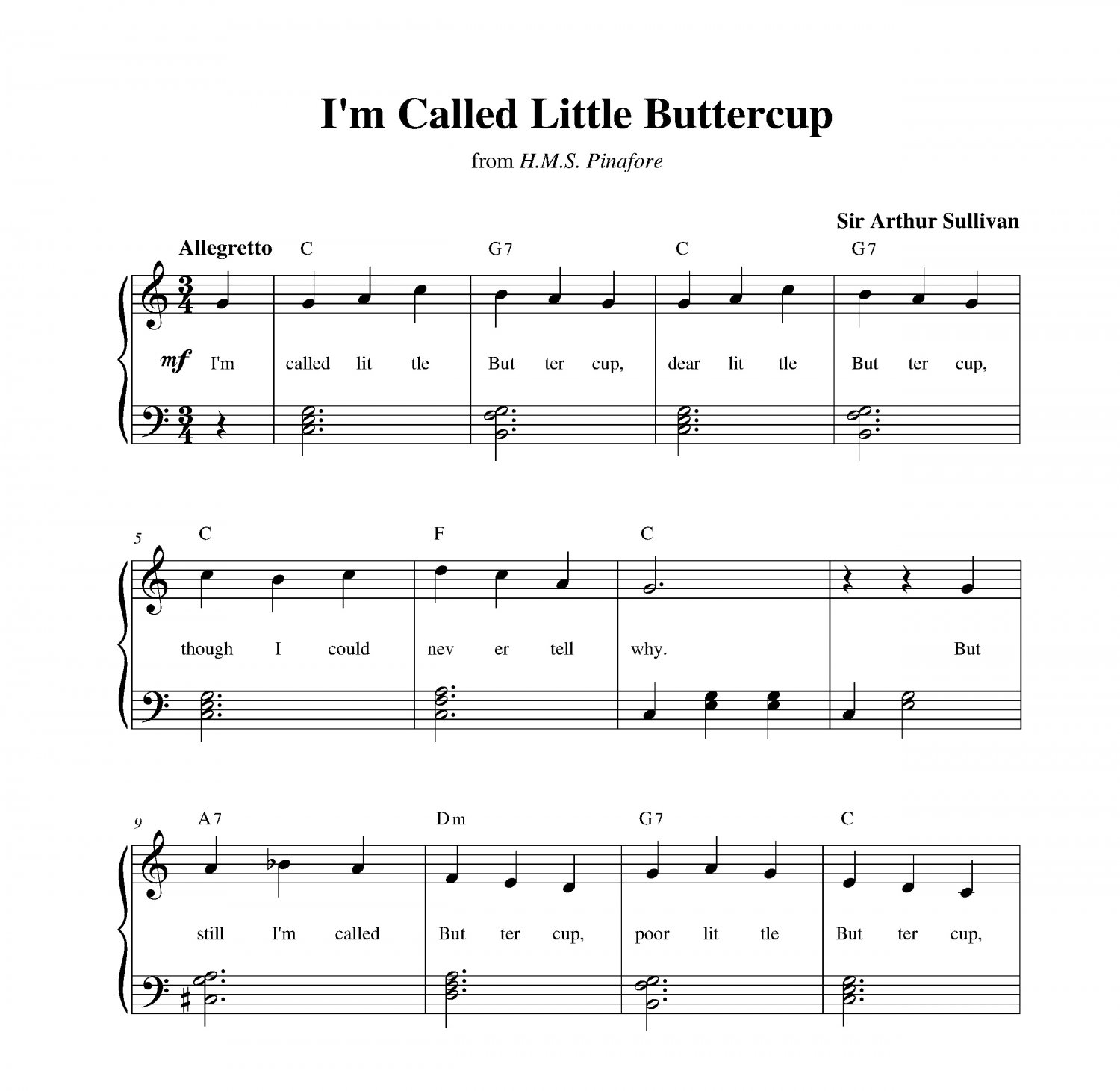 Sullivan - I�m Called Little Buttercup