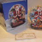 "SANTA & ELVES DECORATIVE RESIN PLATE SET ""A CHRISTMAS REMEMBERED"" 1997 2 PIECES"