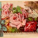 Antique Vintage 1914 Best Wishes Postcard Embossed with Roses Divided Back
