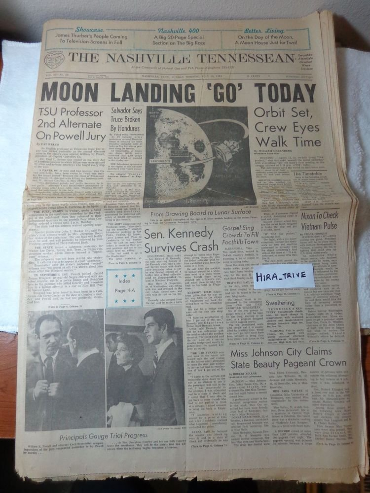 The Nashville Tennessean First Man Lands on the Moon July 20 1969 Newspaper
