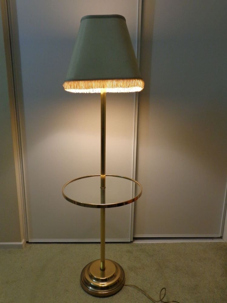 Ordinaire Antique/Vintage Frederick Cooper Floor Standing Lamp Glass Table Brass W/  Shade