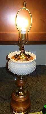 Vintage/Antique/Mid-century Stiffel Style Milk Glass Lamp Brass Wooden Base