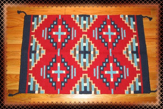 SouthWestern Log Home Decor Wool Rug Red-Turquoise-Navy