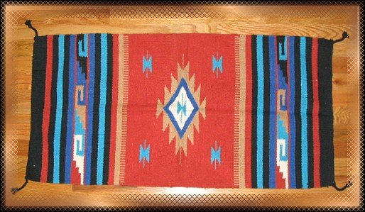 Southwestern Decor Log Cabin Rug Terra Cotta -Tan-Blue
