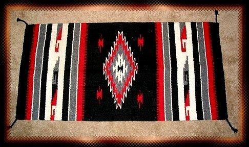 Southwestern Decor Log Cabin Rug Black-Red-Gray-White