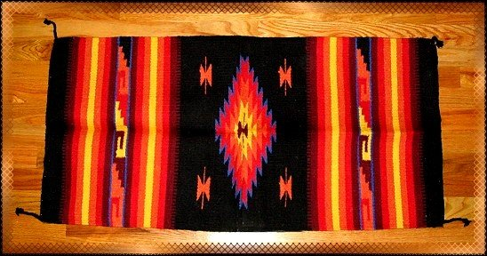 Southwestern Decor Log Cabin Rug Black-Yellow-Orange
