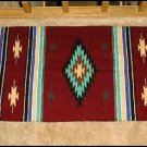 Southwestern Decor Log Cabin Rug Burg-Tan-Turquoise