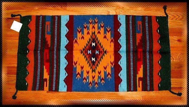SouthWestern Log Home Decor Wool Rug Blue-Yellow-Turquoise