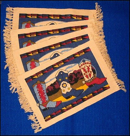 Western Placemat Set (4) - Colorful WESTERN BOOTS