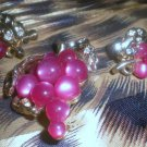 BEAUTIFUL MAGENTA MOONGLO THERMOSET GRAPES RHINESTONE DEMI PARURE! FALL HARVEST!