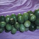 VINTAGE GREEN QUARTZ SEMI PRECIOUS STONE GRAPE BUNCH BRASS LEAVES!