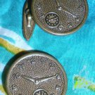 VINTAGE TO ANTIQUE CLOCK FACE LADIES OR MENS BRASS TONE CUFF LINKS!