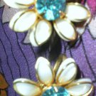 GORGEOUS CREAM ENAMEL FLOWER CUT OUTS W/BLUE CENTER CHATON EARRINGS! VINTAGE BN COLLECTIBLE!