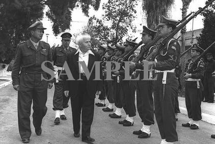 David ben gurion accompanied by chief of staff Moshe Dayan inspecting a guard of honor photo #47