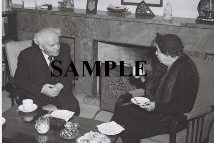 MRS.Eleanor Rosevelt having tea with David ben gurion at his office in tel aviv photo #60