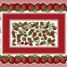 """4 Pc Set 18"""" STRAWBERRY Festival Fruit Tapestry Placemat"""