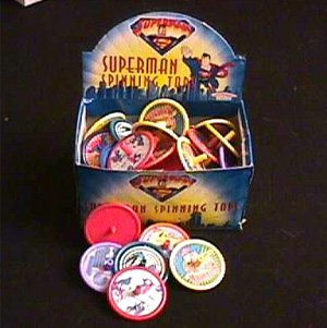 Superman Spinning tops WHOLESALE CASE of 144