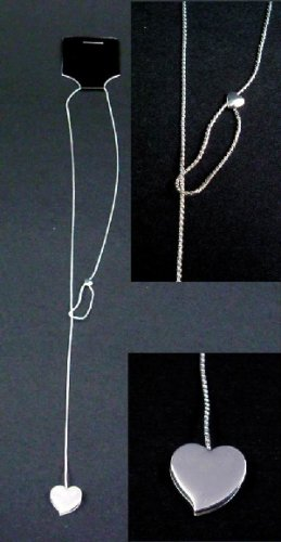 Silver tone sliding necklace with heart shaped pendent (wholesale lot of 50)