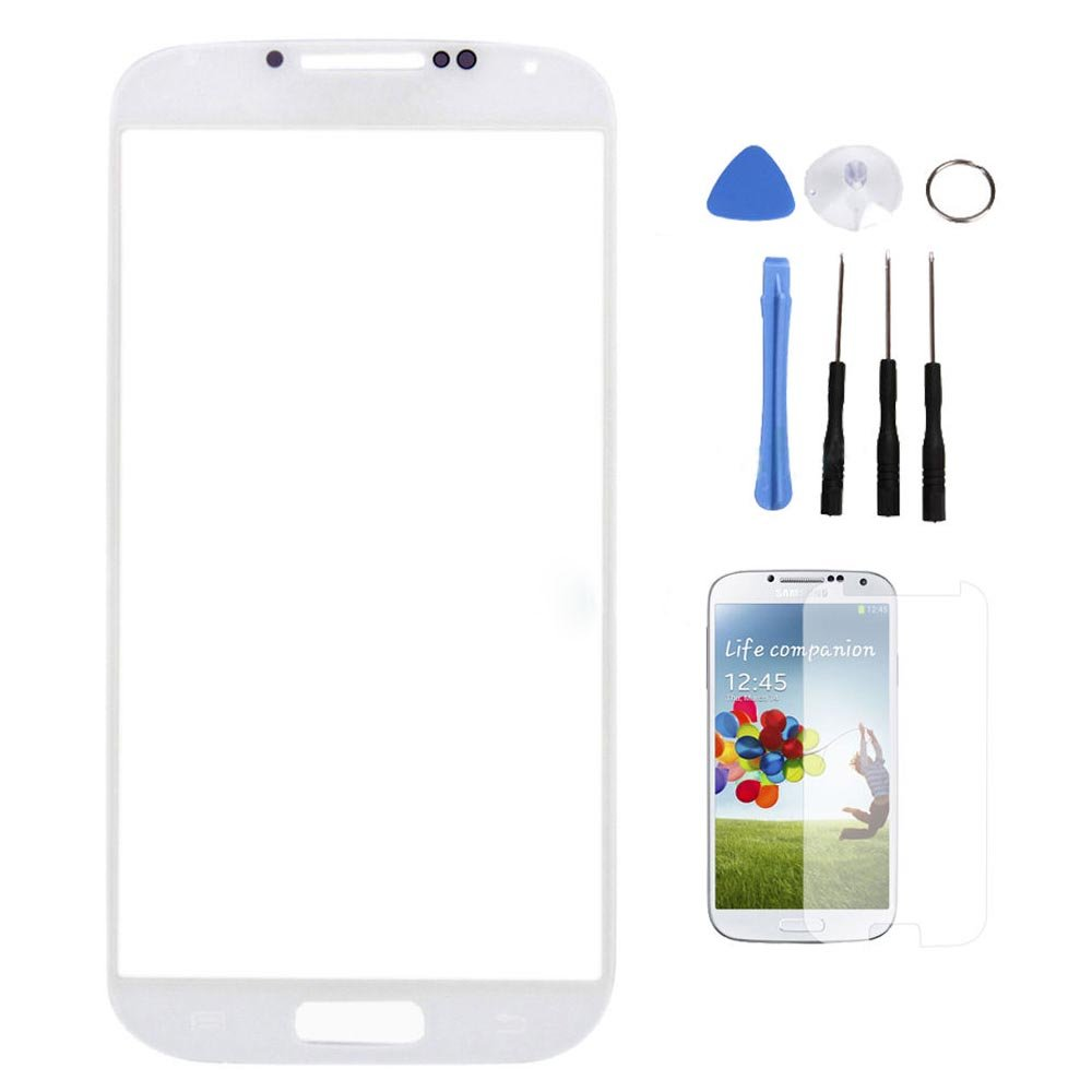Front Outer Screen Glass Lens for Samsung Galaxy S4 S IV GT-i9500 + Tools White
