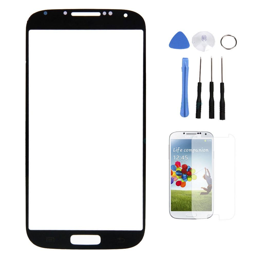 Front Outer Screen Glass Lens for Samsung Galaxy S4 S IV GT-i9500 + Tools Blue