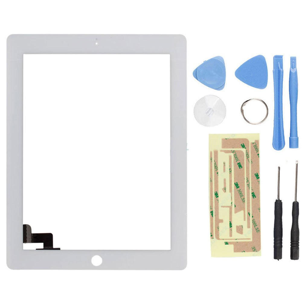 New Touch Screen Glass Digitizer Replacement + Adhesive for iPad 2 White + Tools