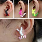 Pair 3D Hare Rabbit Stud Fake Gauge Earrings - Cool Rock Punk Metal Korean Style