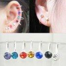 "6 X ""U"" Clip ON Diamante Silver Earrings, Ear Cuff - No Piercing"
