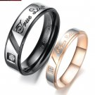 """Set of Stainless Steel Engraved """"True Love"""" Couple Promise Rings Band"""