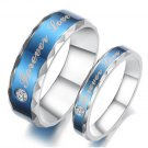 "Set of Stainless Steel Blue ""Forever Love"" Couple Promise Rings Band"