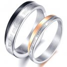 "Set of Stainless Steel Engraved ""You're my one and only valentine"" Couple Rings"