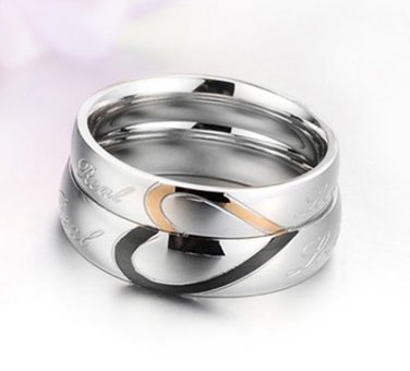 Set of Stainless Steel Heart-shaped Love Couple Wedding/Engagement Band Rings