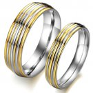 Set of Stainless Steel 2-Tone Gold Silver Inlay Band Couple Wedding Rings