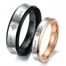 Set of Stainless Steel 2-Tone <forever love> Lover Wedding Rings band