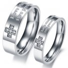 Set of Stainless Steel Square Gem Inlay Cross Couple Engagement Rings Band