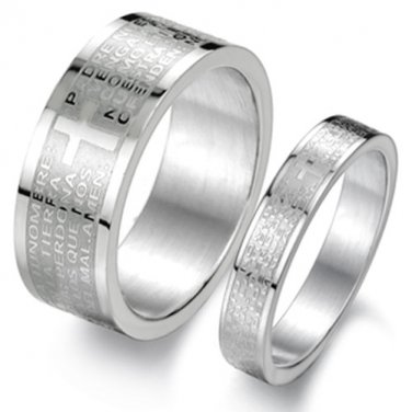 Set of Stainless Steel Cross Prayer Bible Couple Promise Rings Band