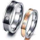 """Set of Stainless Steel """"The only eternal love"""" Couple Promise Rings Band"""