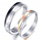"""Set of Stainless Steel """"You're my one and only valentine"""" Couple Rings B"""