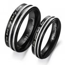"Set of Black Stainless Steel ""You are my only love"" Couple Band Rings"