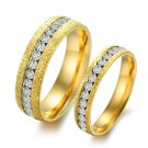 Set of Couple Gold Frost CZ Stainless Steel Wedding Band Rings