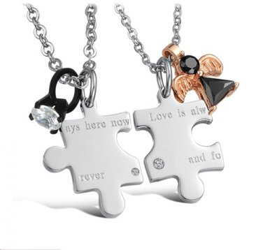 Set of Titanium Stainless Steel Love Jigsaw Pendant Couple Lover Necklace