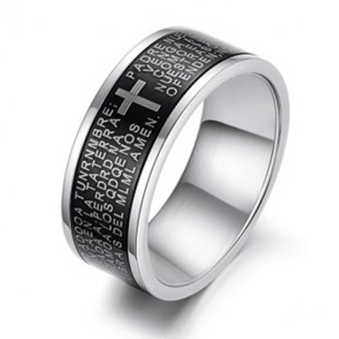 Mens Stainless Steel Ring The Prayer Bible Cross Band