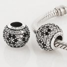 925 Sterling Silver Black Pave Cherry Blossom Charm - fits European Beads Bracelets