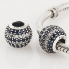 925 Sterling Silver Blue Nautical Pave Stripe Charm - fits European Beads Bracelets