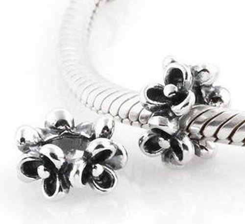 925 Sterling Silver Forget Me Not Flower Spacer - fits European Beads Bracelets
