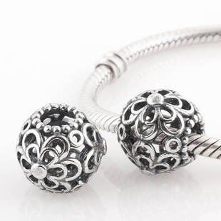 925 Sterling Silver Openwork Flower Power Charm - fits European Beads Bracelets