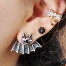 Pair 3D Red Eyes Bat Animal Stud Fake Punk Gauge Earrings - Cool Rock Punk Style