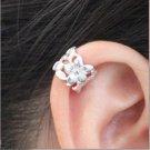 925 Sterling Silver Flower Cartilage Ear Cuff Wrap Clip On Earrings