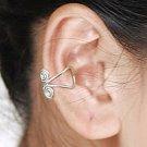 925 Sterling Silver Double Swirl Design Cartilage, Ear Cuff, Wrap, Clip on Earrings