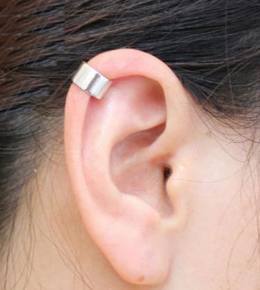 925 Sterling Silver Plain Polished Cartilage Ear Cuff Wrap Clip On Earring